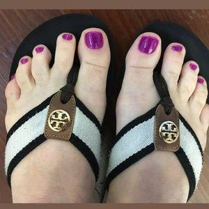 Tory Burch Frankie sandal wedge flip flop 8 1/2